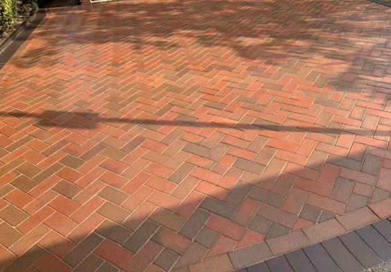 Pressure washing- clay pavers cleaned